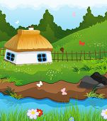 image of house woods  - Country house with a thatched roof on the bank of a small river - JPG