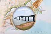 stock photo of confederation  - Looking in on the Confederation Bridge connectin New Brunswick and Prince Edward Island Canada - JPG