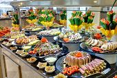 foto of chinese restaurant  - food buffet in restaurant in asian style - JPG