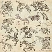 stock photo of freehand drawing  - DRAGONS - JPG