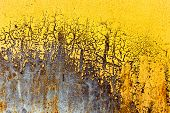 pic of scratch  - Creative background of rusty metal with cracks and scratches casually painted yellow - JPG