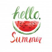 pic of food label  - Watercolor  watermelons and lettering hello summer - JPG