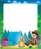 picture of boy scout  - Summer frame with scout boy theme  - JPG