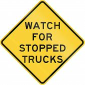 stock photo of truck-stop  - US warning traffic sign - JPG