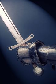 stock photo of longsword  - closeup of knight - JPG