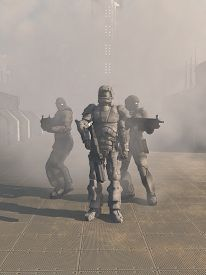 stock photo of heavy  - Science fiction illustration of a group of three futuristic Space Marines in heavy armour advancing from the mist in the street of a future city - JPG