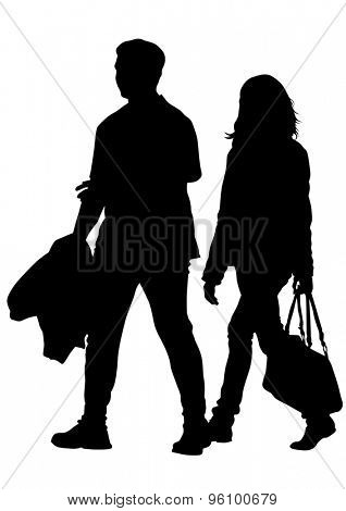 Silhouettes of men and women on a white background