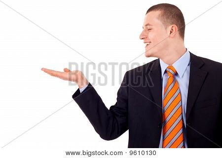 Man Showing Something On His Hand