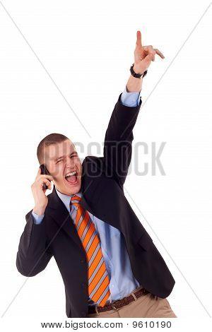 Business Man Winning At Phone