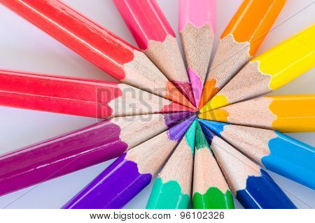 Color Pencils In Arrange In Color Wheel Colors.