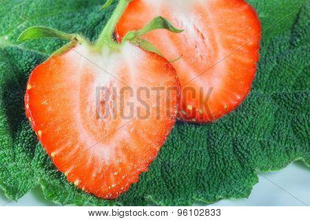 beautiful shape of a red juicy strawberries. macro