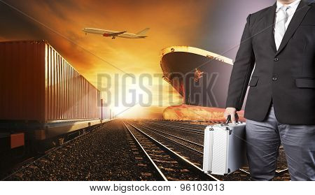 Investor Business Man And Container Trains ,commercial Ship On Port Freight Cargo Plane Flying Above