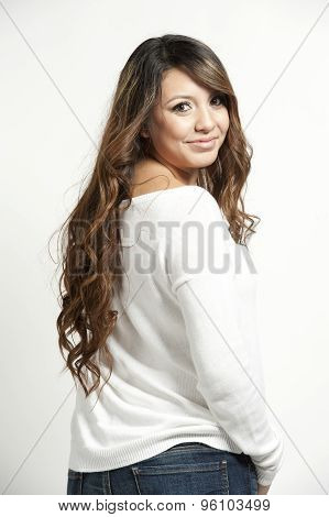 Happy Girl On White