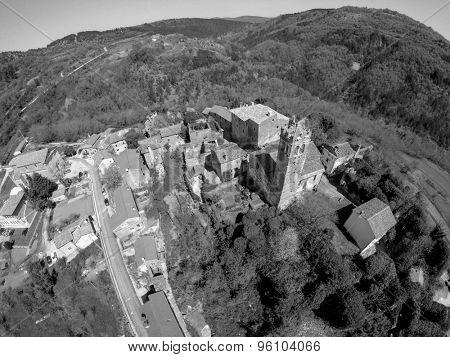 Aerial view on small village Zavr�¡je in Istria, Croatia.