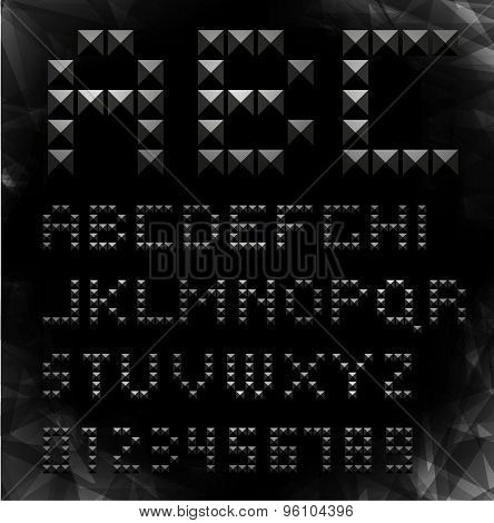Vector gold pixel font with stud