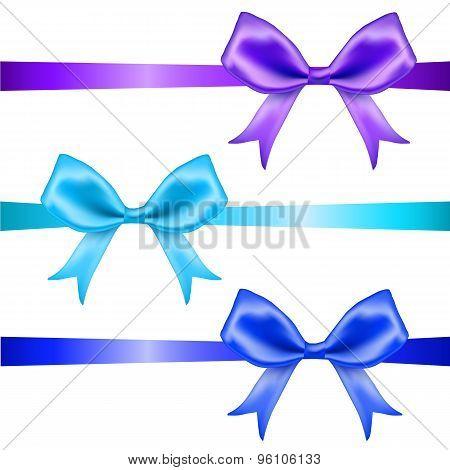 Bows. Blue glossy ribbons.