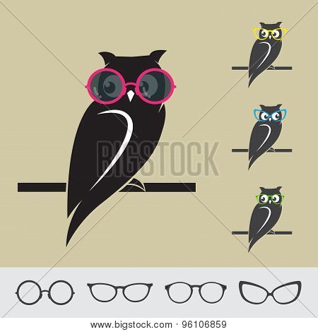 Vector Images Of Owl And Glasses On Brown Background.