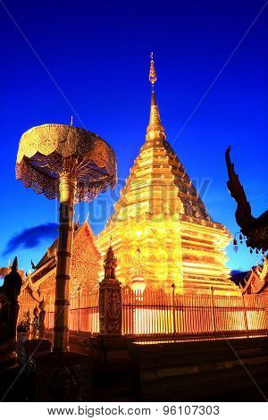 Beautiful Golden statue in Wat Phra That Doi Suthep, Chiang Mai, Thailand