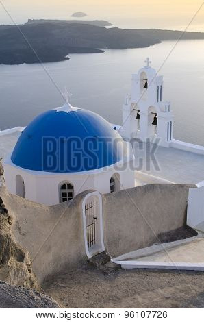 Typical Orthodox Church On The Island Of Santorini