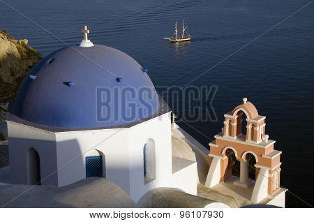 Traditional Church In Oia Santorini Greece