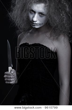 Portrait Of Ghost With Knife