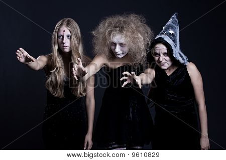 Portrait Of Zombie, Ghost And Witch