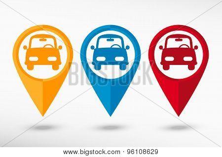 Car map pointer, vector illustration. Flat design style