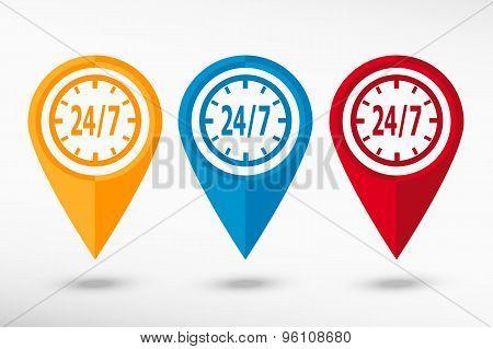 Around the clock map pointer, vector illustration. Flat design style