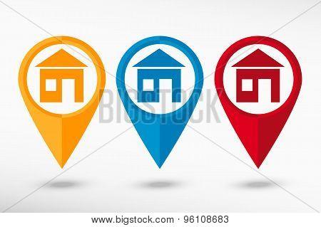 Build map pointer, vector illustration. Flat design style