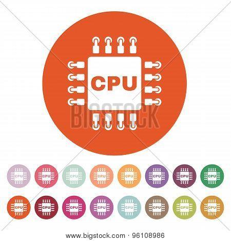 The cpu icon. Microprocessor and processor symbol. Flat