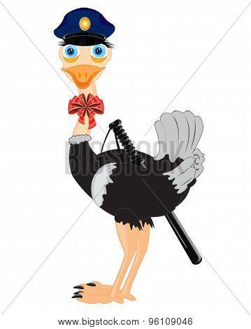 Bird ostrich police