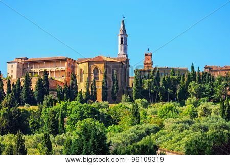 Tuscany, Pienza Medieval Village, Church Detail. Siena, Val D Orcia, Italy
