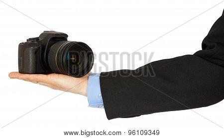Black Photo Camera On A Man's Hand