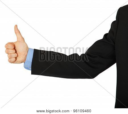 Business Man's Hand With A Thumbs Up Sign