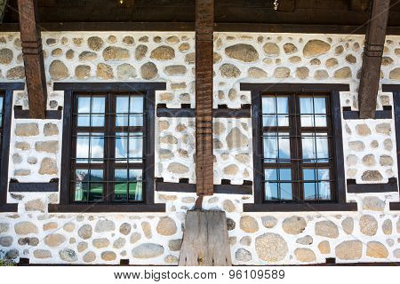 Old stone wall and windows, Bulgaria