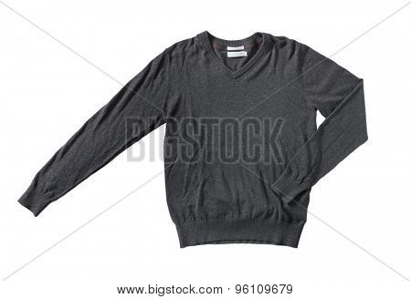 Men's dark grey cotton sweater knitwear isolated on white with natural shadows.