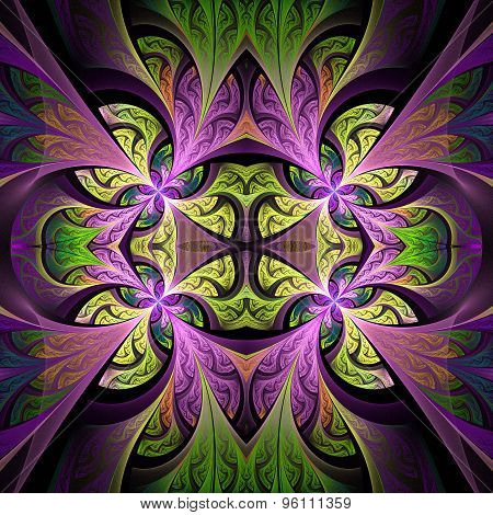 Symmetrical Flower Pattern In Stained-glass Window Style. Green And Purple Palette. Artwork For Crea