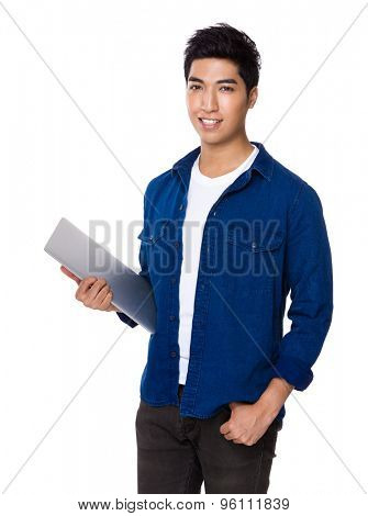 Chinese mixed iranian man hold with laptop computer