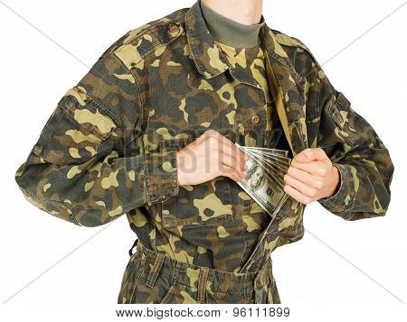 Man In Military Uniforms Pulls Money Out Of His Jacket