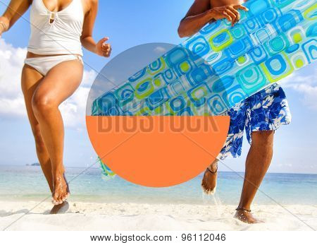 Couple enjoying their tropical beach holiday.