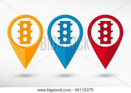 Semaphore map pointer, vector illustration. Flat design style