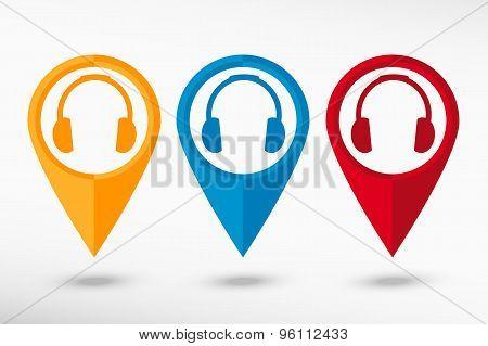 Headphones map pointer, vector illustration. Flat design style