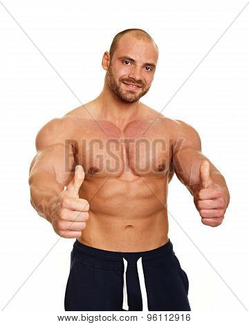 Man shows thumbs up