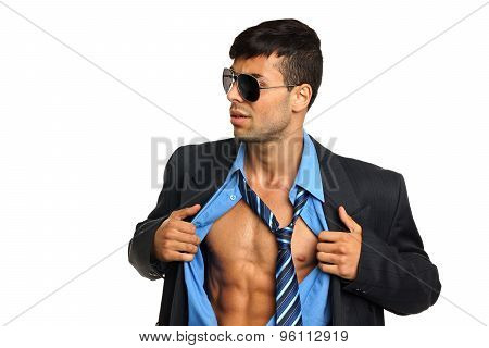 Young businessman in a blue shirt