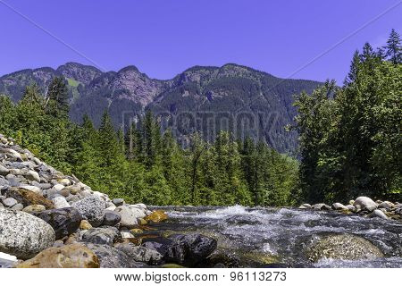 landscape with mountains trees and a river