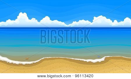Sea Beach With Clouds On Horizon