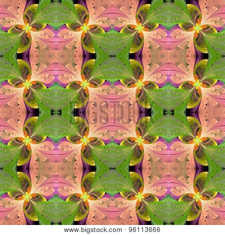 Beautiful Symmetrical Pattern In Stained-glass Window Style. Green And Pink Palette. Computer Genera