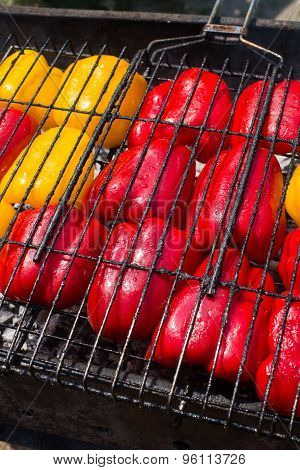 Barbecue Grill With Peppers