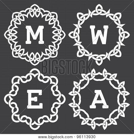 Monogram frames design in celtic knots style