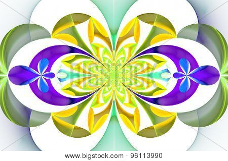 Fabulous Symmetrical Pattern Of The Leaves. Yellow And Purple Palette. Computer Generated Graphics.